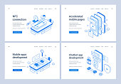 Set of blue and white vector illustrations of web banners advertising various innovative ideas for modern mobile application development services. 3D isometric web banners, landing page templates