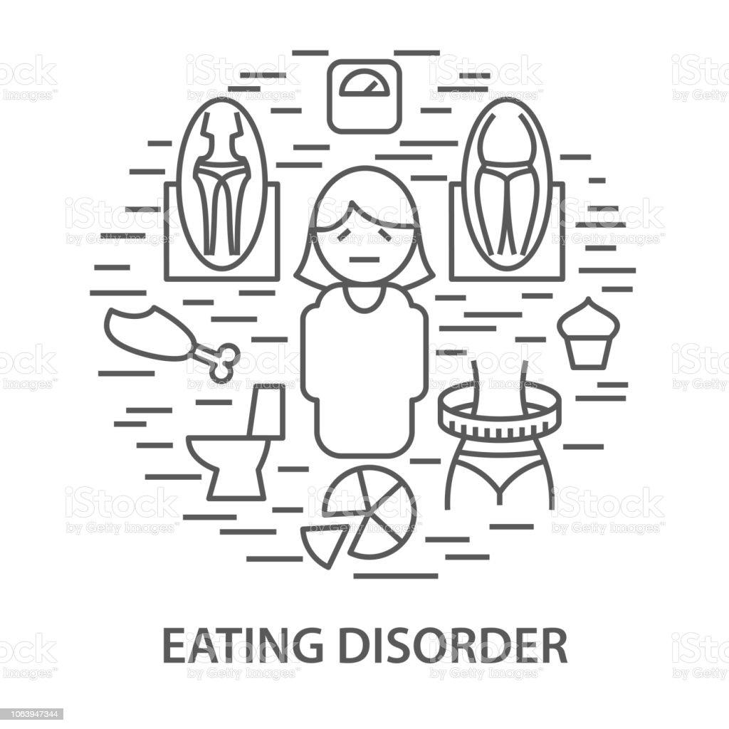 Banners for eating disorder vector art illustration