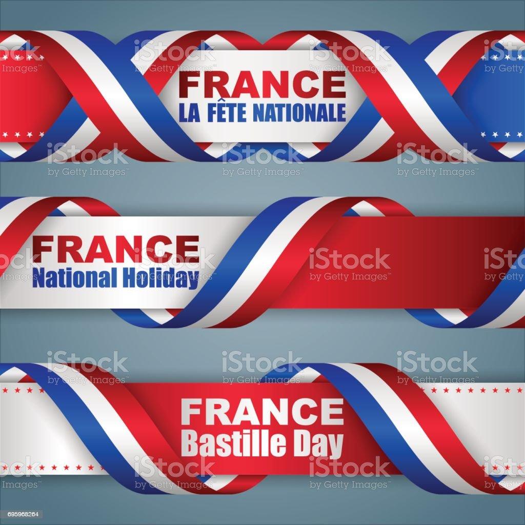 Bannières pour fête nationale Français - Illustration vectorielle