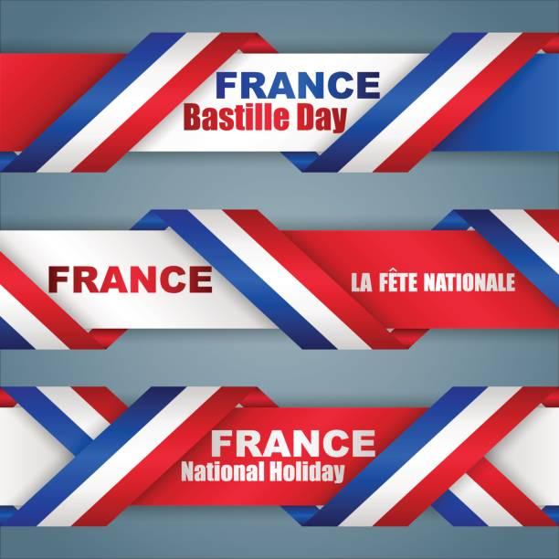 ilustrações, clipart, desenhos animados e ícones de banners para o feriado nacional francês - bandeira da frança