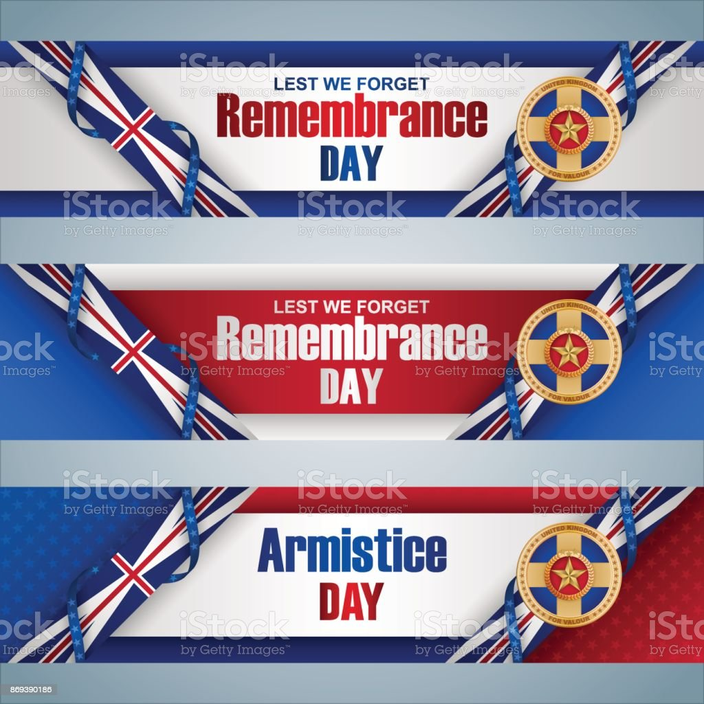Banners for Remembrance day celebration in Great Britain vector art illustration