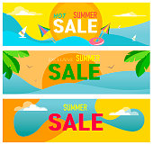 Banners for summer sales. A set of colorful templates with a theme of summer and sea. Ideal for an invitation to advertise, the title of the presentation, the page, vector illustration.