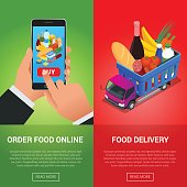 Banners for web site online food order, food delivery and drone delivery. Online shopping concept. Isometric vector illustration.