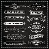 Banners, frames and ribbons, chalkboard style vector