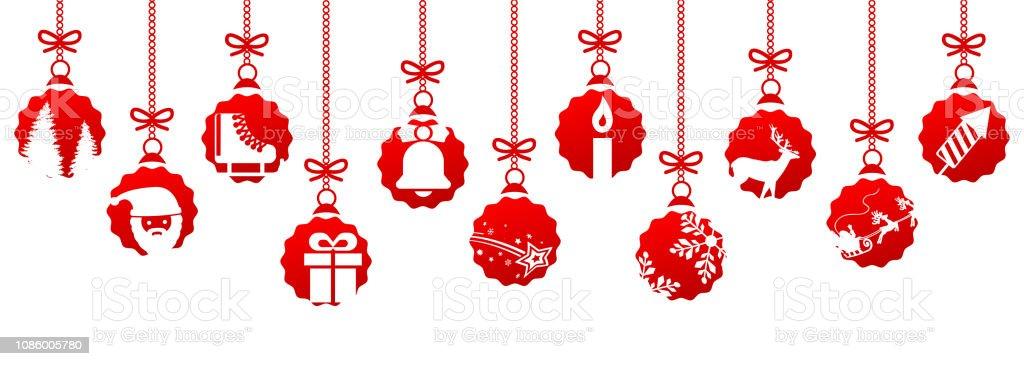 banner von verschiedenen roten weihnachtskugeln. Black Bedroom Furniture Sets. Home Design Ideas