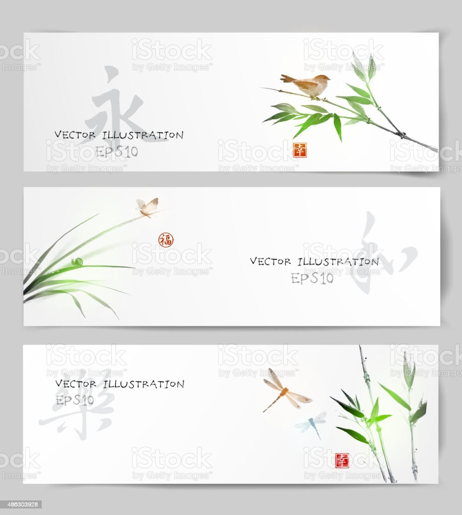 Banners in Japanese style vector art illustration