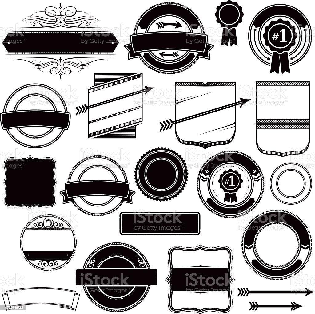 Banners, labels, stickers and shields royalty-free stock vector art