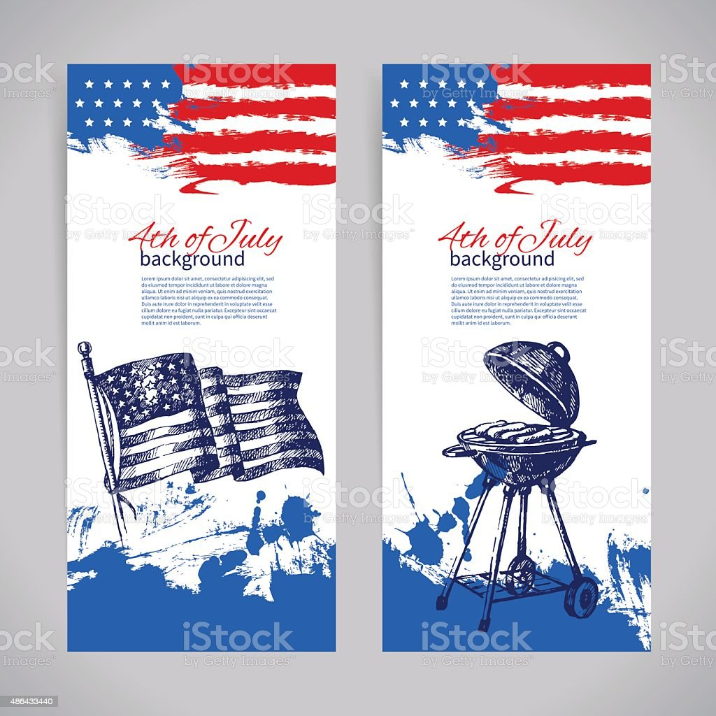 Banners of 4th July backgrounds with American flag. Independence vector art illustration