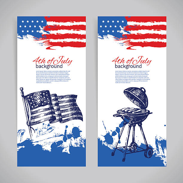 Banners of 4th July backgrounds with American flag. Independence Banners of 4th July backgrounds with American flag. Independence Day hand drawn sketch design circa 4th century stock illustrations
