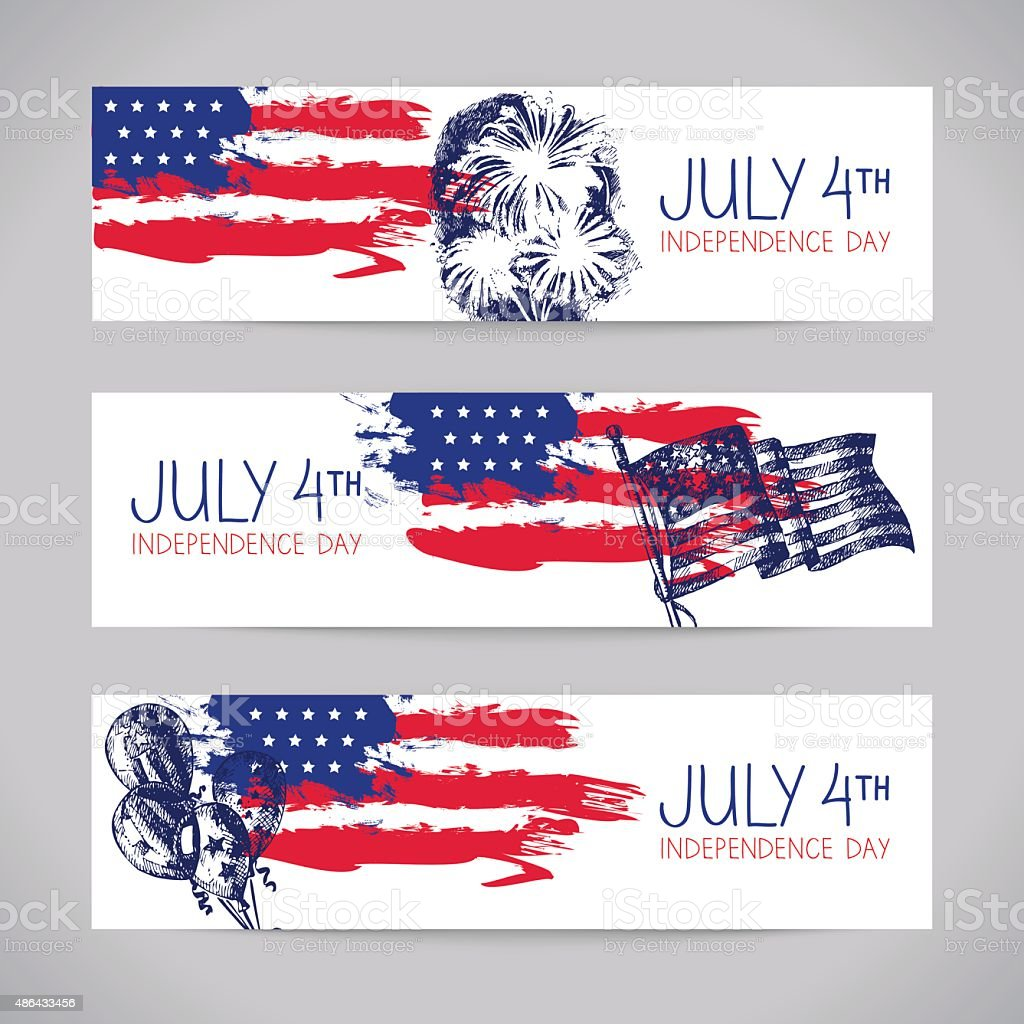 Banners of 4th July backgrounds with American flag. Independence Day...