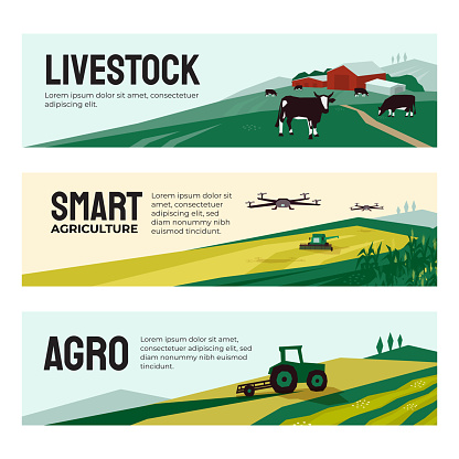 Banners of agricultural company, smart farming, livestock