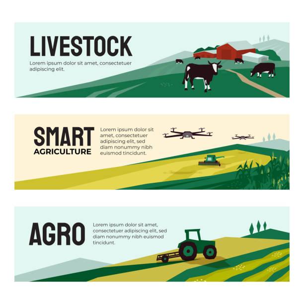 bildbanksillustrationer, clip art samt tecknat material och ikoner med banners av jordbruksföretag, smart lantbruk, boskap - odla