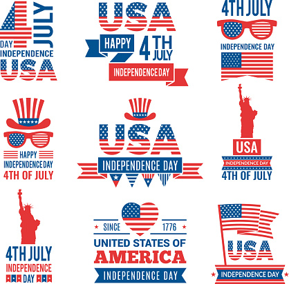 Banners of america independence day. Vector labels at 4 july