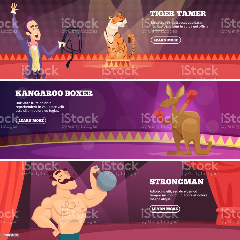 Banners of circus show. Vector illustrations of various circus artists vector art illustration