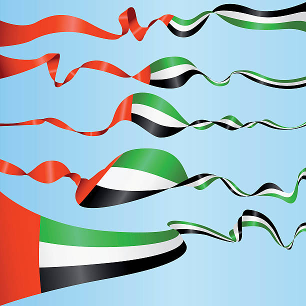 banners of the united arab emirates - uae flag stock illustrations
