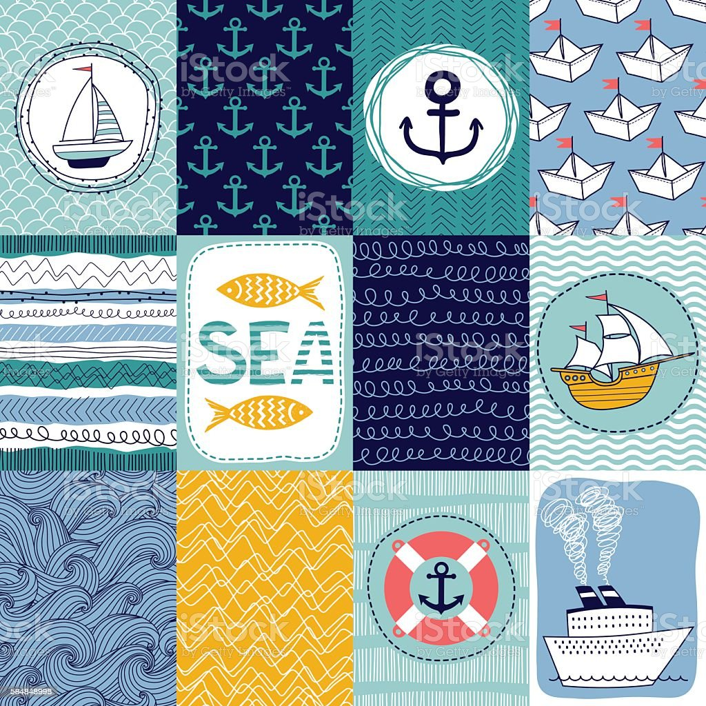 banners or cards with nautical elements vector art illustration