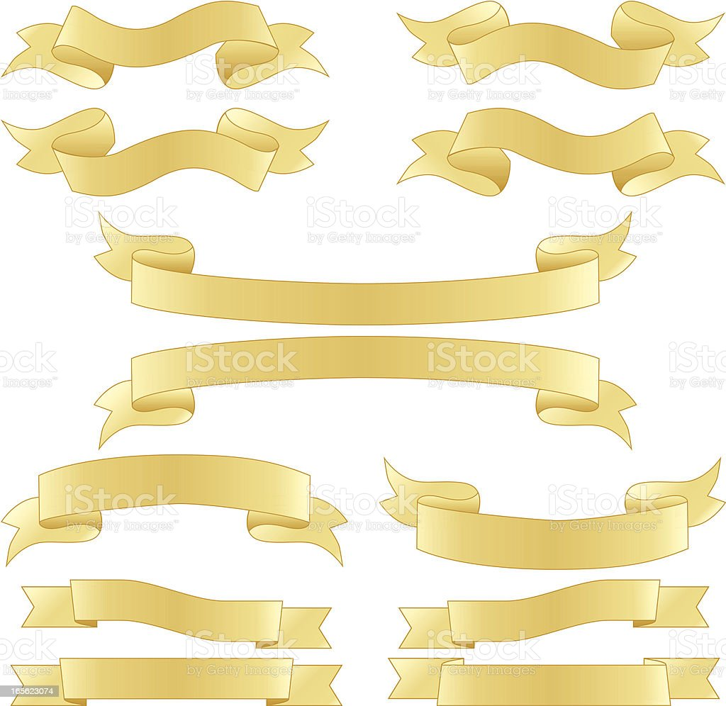 Banners or Ribbons Design Elements Set - Shiny Gold royalty-free stock vector art