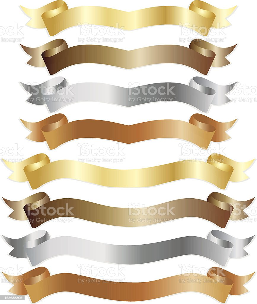 Banners or Ribbons Set - Shiny Metallics royalty-free stock vector art