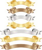 Banners, ribbons: metallic gold, bronze, silver. OPTIONAL line edging, drop shadows.