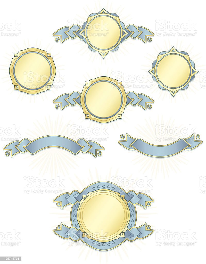Banners, Ribbons, Stickers Set: Sky Blue Satin, Metallic Gold royalty-free stock vector art