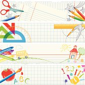Scissors, pencils, rulers, crayons, compass, paintbrush, and drawings on school notebook paper.