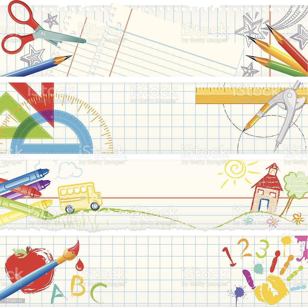 Banners: School herramientas - ilustración de arte vectorial