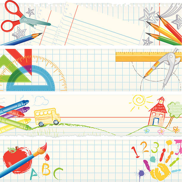 banners – school tools - math class stock illustrations, clip art, cartoons, & icons
