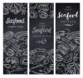 Vector banners template hand drawn seafood design with mussel, fish salmon, shrimp. Lobster, squid, octopus, scallop, lobster, craps or mollusk, oyster, alfonsino and tuna Chalkboard style