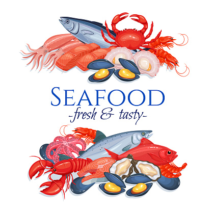 Banners Seafood Stock Illustration Download Image Now