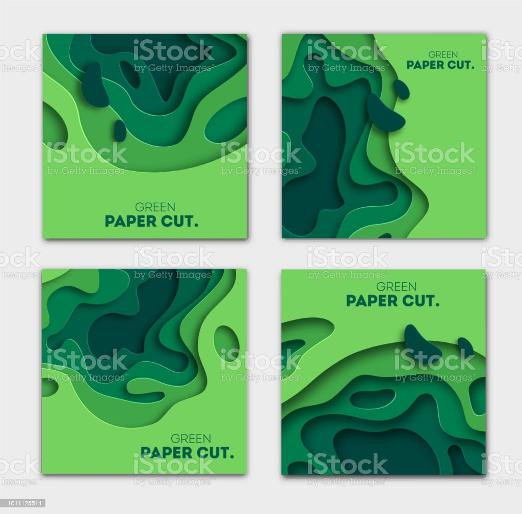 Banners Set 3d Abstract Background Green Paper Cut Shapes Vector