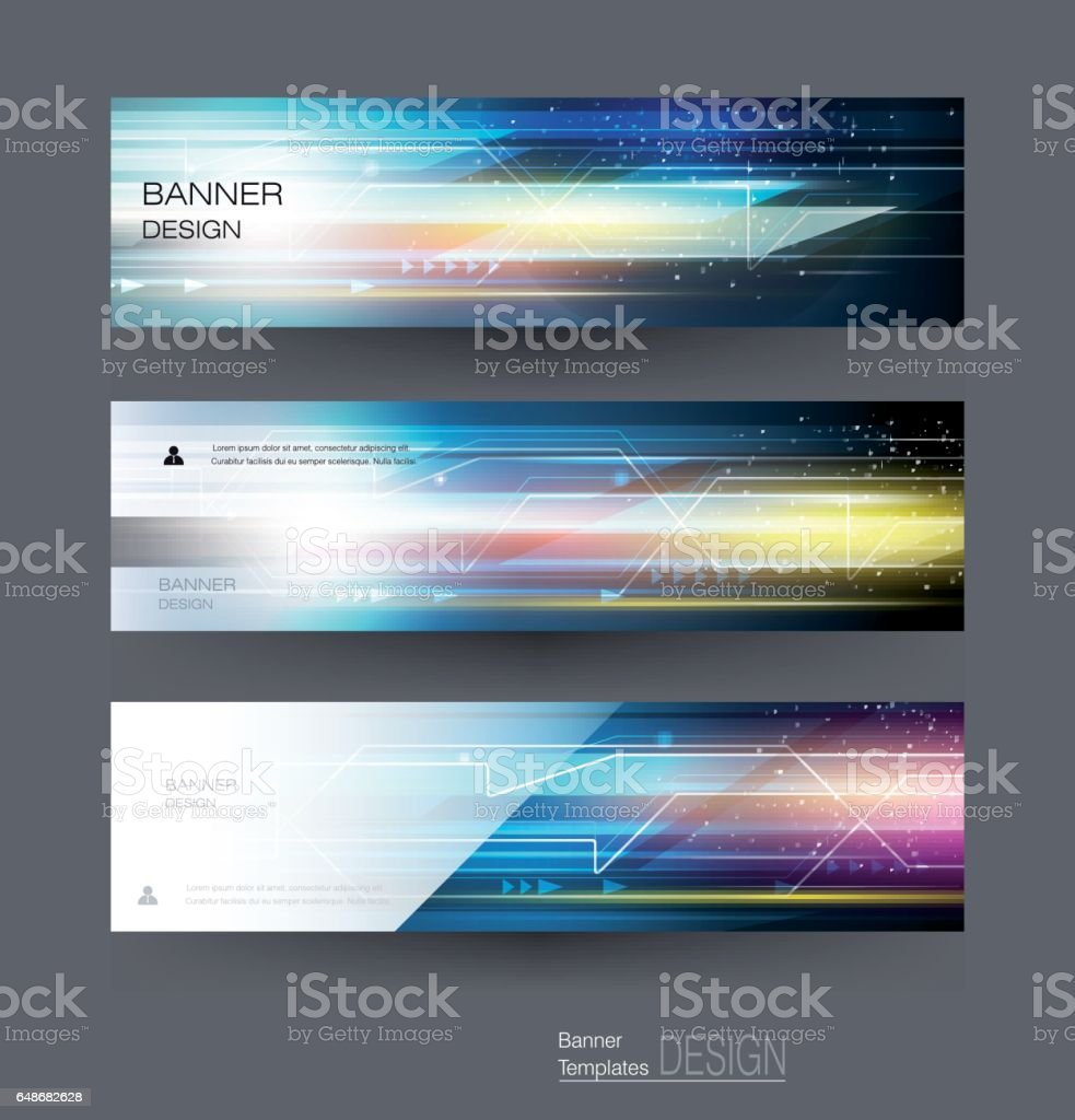 Banners set image of speed movement pattern and motion blur vector art illustration
