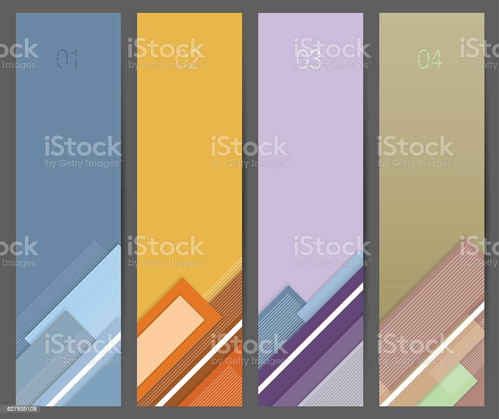 Banners Set In Material Design Background Stock Illustration