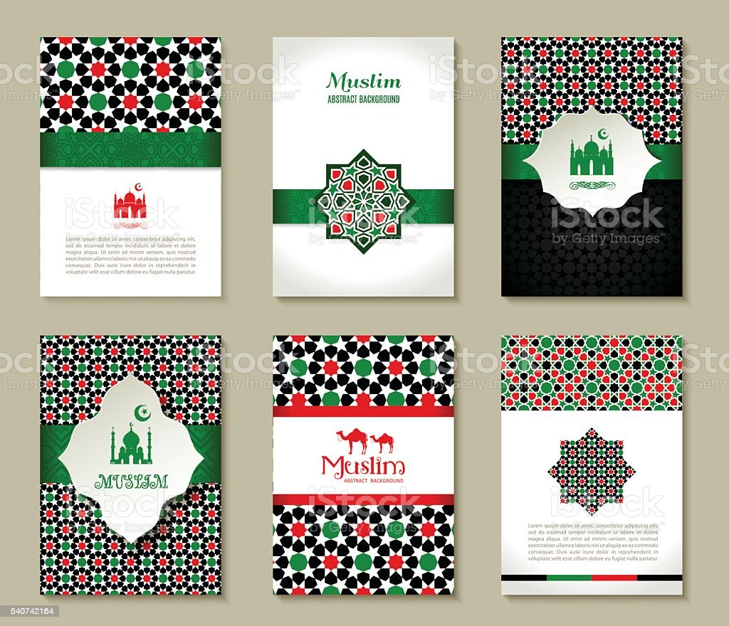Banners set of islamic. Uae color design. vector art illustration