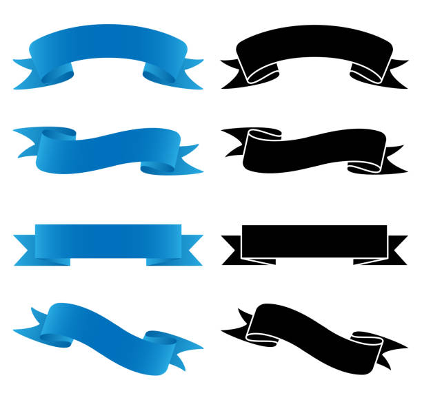 Banners Set Vector Illustration Sharp banner set vector graphic in color with soft gradients and black for easy editing. flapping wings stock illustrations