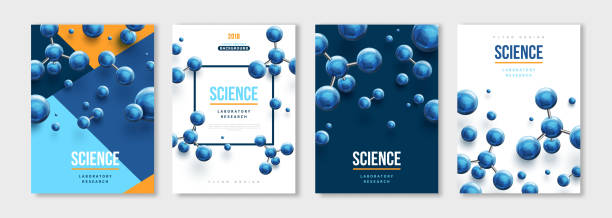 Banners set with blue molecules Vertical banners set with blue 3d molecules. Vector design layout for business presentations, medical flyers, posters and science brochures. Molecular structure with spherical particles microbiology stock illustrations