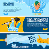 Banners set with concept illustrations of cleaning service theme. Housework cleaner service, sponge and brush vector