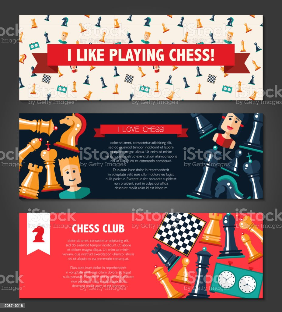 Banners set with flat design chess and players icons vector art illustration