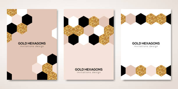 Banners set with gold hexagons decor vector art illustration
