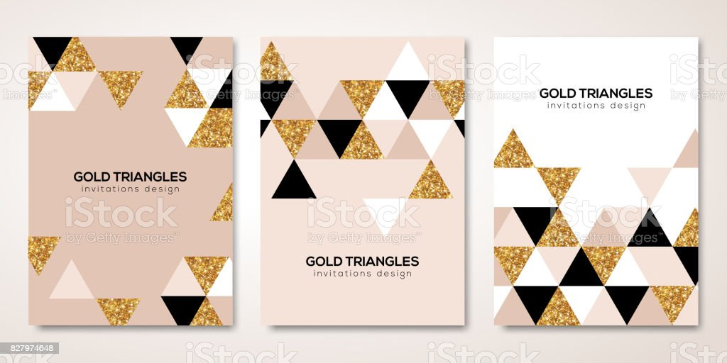 Banners set with gold triangles decor