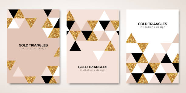 Banners set with gold triangles decor Banners set with gold geometric patterns. Vector illustration. Flyer design layout templates for wedding cards, business brochure design, certificates. Golden triangles decor glamour stock illustrations