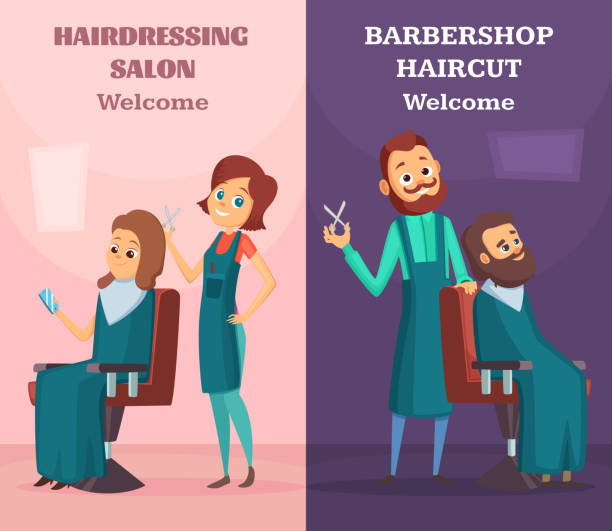 banners set with illustrations of hairdressers at work - hairdresser stock illustrations