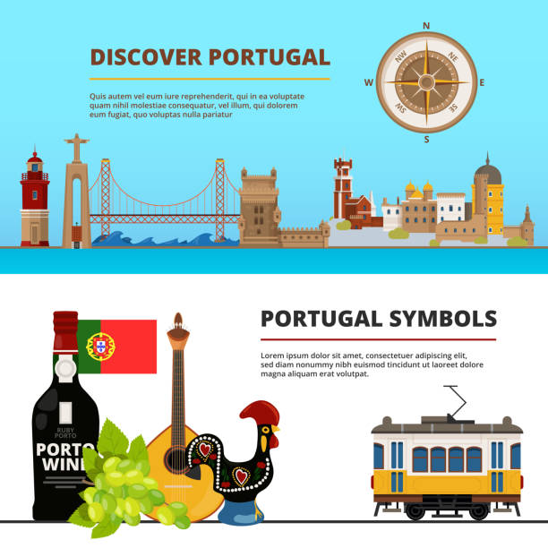 banners set with illustrations of portuguese cultural objects - lizbona stock illustrations