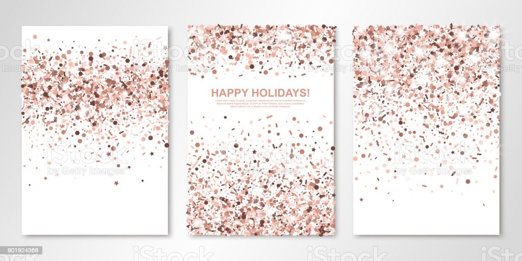 Banners Set With Nude Confetti On White Vector Flyer Design ...