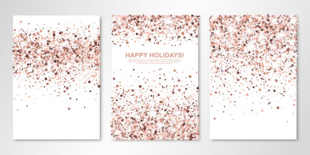 ilustraciones, imágenes clip art, dibujos animados e iconos de stock de banners set con confeti nude en blanco. plantillas de diseño de flyer vector para boda, tarjetas de invitación, ahorre la fecha, diseño de folleto de negocios, certificados. todos en capas y aislado - diseños de bodas