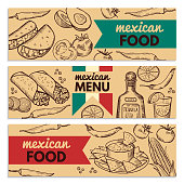 Banners set with picture of different mexican foods for restaurant menu. Mexican food banner menu. Vector illustration