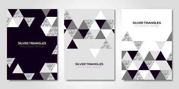 Banners set with silver geometric patterns