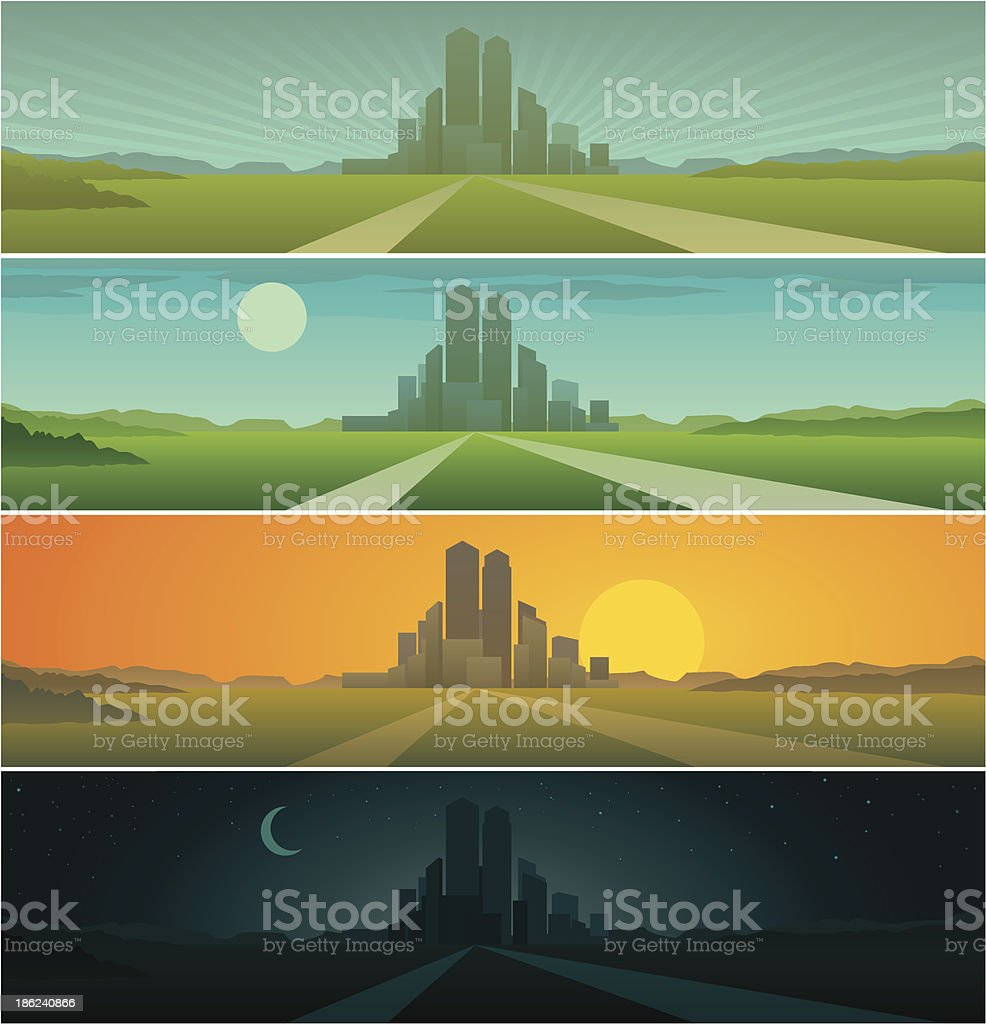 Banners showing day sequence - morning, noon, evening and night vector art illustration