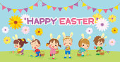 Illustration of cute kids hunting eggs at grassland. Banners that can be used for Easter.