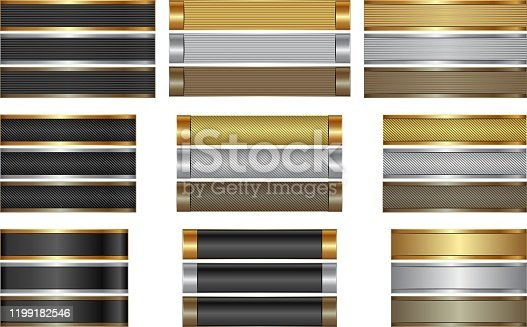 set of long textured banners golden, silver and brown
