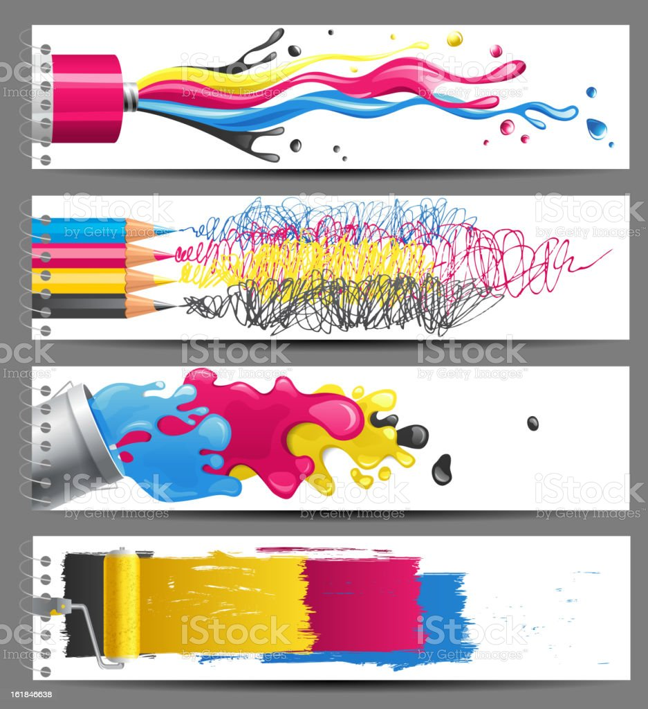 CMYK banners royalty-free cmyk banners stock vector art & more images of black color
